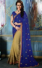 Show details for Majesty Beige and Blue Color Fantasy Saree
