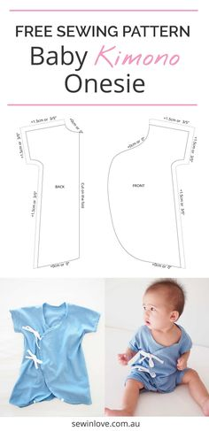 Free Baby Kimono Onesie Sewing Pattern & Tutorial | Make this cute baby kimono onesie for your little one. It's so easy to dress your baby because you don't have to pull it over his or her head!
