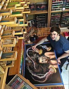 jesse lane artist - Google Search Colored Pencil Portrait, Color Pencil Art, Artist Life, Artist At Work, Derwent Pencils, Soul Artists, Creative Storage, Storage Ideas, Drawing Process