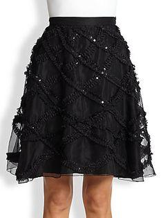 Moschino Cheap And Chic Sequined Ruffle-Detail Silk Skirt