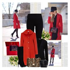 Red Coats! by bklana on Polyvore featuring polyvore fashion style philosophy Pieces Sam Edelman Valentino Hat Attack clothing
