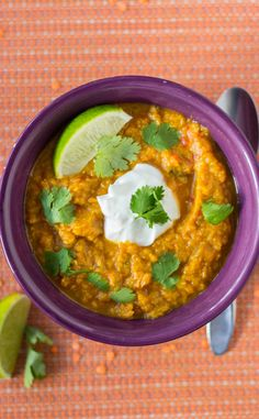Slow Cooker Indian Butternut Squash and Red Lentil Curry - vegetarian, easily vegan, and naturally gluten free!