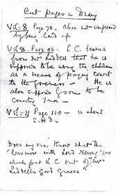 """Lewis Carroll - The """"cut pages in diary"""" document, in the Dodgson family archive in Woking."""