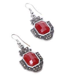 Maroon Ruby Embellished Earrings #indianroots #jewellery #earrings #ruby #occasionwear