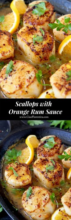 Seared Scallops Recipe with Orange Rum Sauce | CiaoFlorentina.com @CiaoFlorentina #Healthyfishrecipes