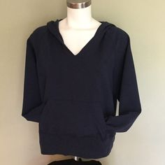 Aerie Navy Hoodie Sweatshirt XL  Aerie navy blue soft hoodie sweatshirt in great shape.  Extra Large. Not long enough in body for tall. See measurements below in comments.  Final Clearance Price but still eligible for bundle discount. aerie Tops Sweatshirts & Hoodies