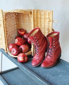 Apple Red Western Style Roper Fringe Tongue Boots.    shoe reads: 6.5 measurements:  inside sole toe to heel 9.5  bottom sole toe to heel 10  heel