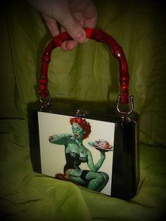 Zombie Pinup Cigar Box purse hand made by Secretia Noxious, one of a kind. $35.00 http://www.etsy.com/shop/NOXIOUSPUNX  DIY handmade