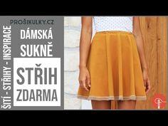 Střih ZDARMA - dámská sukně (+ jak ušít sukni do gumy) - Prošikulky.cz Diy Fashion, Peplum, Sewing, Skirts, Dressmaking, Couture, Stitching, Skirt, Costura