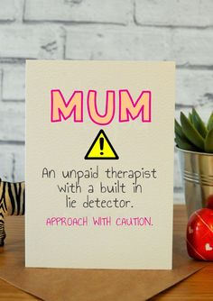 Approach With Caution! Funny mothers day card, hilarious mothers d. Approach With Caution! Funny mothers day card, hilarious mothers day card, birthday card for mum, funny bi. Bday Cards, Funny Birthday Cards, Birthday Diy, Diy Birthday Cards For Mom, Card Birthday, Moms Birthday Presents, Quotes For Birthday Cards, Birthday Card For Grandpa, Friend Birthday Meme