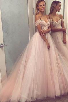 Off the Shoulder Pink Long Prom Dress