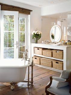 floors, beam, sink backs right up to shower