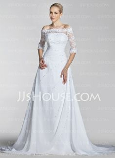 Wedding Dresses - $198.99 - A-Line/Princess Off-the-Shoulder Chapel Train Chiffon  Satin Wedding Dresses With Lace  Beadwork (002004524) http://jjshouse.com/A-line-Princess-Off-the-shoulder-Chapel-Train-Chiffon-Satin-Wedding-Dresses-With-Lace-Beadwork-002004524-g4524