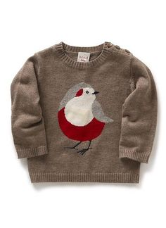 Baby Clothes Knitwear & Jumpers | Bird Intarsia Sweater | Seed Heritage