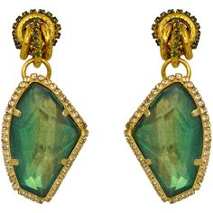 Rental Erickson Beamon Emerald Garden Party Earring ($65) ❤ liked on Polyvore featuring jewelry, earrings, accessories, green, swarovski crystal jewelry, clip earrings, emerald green earrings, knot earrings and emerald green jewelry