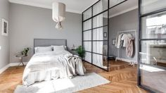 Grey home with a glass partition Minimalist Bedroom glass grey Home partition Scandinavian Bedroom, Scandinavian Interior Design, Interior Design Living Room, Scandinavian Architecture, Home Bedroom, Room Decor Bedroom, Modern Bedroom, Bedroom Ideas, Master Bedroom