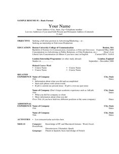 Basic Resume Template Examples  Basic Resume Template Examples We