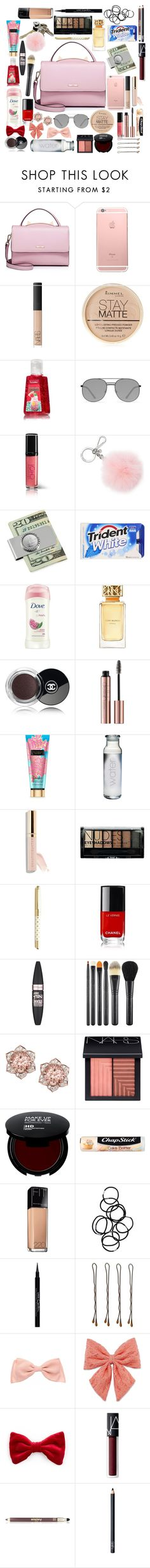 """Pink Necessity"" by rosiecheeksandfreckles ❤ liked on Polyvore featuring WithChic, NARS Cosmetics, Rimmel, Elizabeth and James, Avon, Michael Kors, American Coin Treasures, Dove, Tory Burch and Chanel"