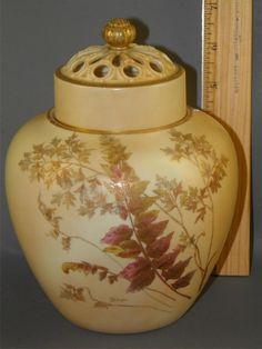 Antique Royal Worcester Blush Ivory Porcelain Reticulated Potpourri Jar Vase