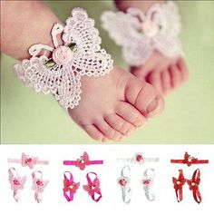 #Lovely foot #flower barefoot sandals + headband set for infant baby #girls kid m,  View more on the LINK: http://www.zeppy.io/product/gb/2/301802227374/