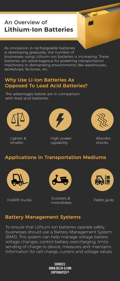 Which Rechargeable Battery Type Is Being Gradually Used More By Businesses?    In various business activities that include warehouses, workshops, factories, etc. the usage of lithium ion batteries is increasing. This is due to various advantages provided by these batteries, especially for powering transportation machines.