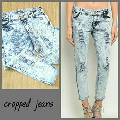 Acid wash crop jeans 0,1,3,5,7,9,11,13 Acid wash jeans with distressed detail and crop length with a rolled hem. These are super cute and well made. Denim jean material fits true to size with some stretch and loose fit : 98% cotton 2% spandex  Sizes available: 0,1,3,5,7,8,11,13  Discounts on bundles boutique Jeans Ankle & Cropped