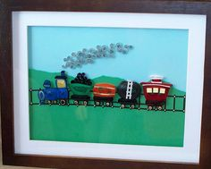 I made this for a little boy who was obsessed with trains.  It turned out cute.-by Brenda Brownlee-Pinterest