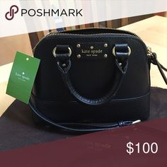 """NWT- Kate Spade """"Mini Rachelle Cross Body Bag"""" 100% authentic, comes with Kate spade tag, cloth bag, and care card. New with tags! Adjustable shoulder strap. Black bag with gold hardware and zipper. Bag is a small size but can fit phone, wallet, etc. The length of the bag is 8"""" and the height is 6"""". The width is approx. 2.5"""". Small pocket inside the bag. kate spade Bags Shoulder Bags"""