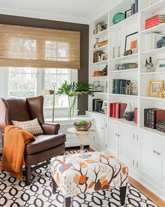 Den Built Ins, Transitional, den/library/office, Erin Gates Design Floor Design, House Design, Living Room Bookcase, Living Spaces, Living Area, Ideas Prácticas, Petites Tables, Interior Decorating, Interior Design