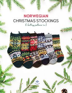 Ravelry: 6 christmas stockings pattern by Anne Mende Christmas Stocking Pattern, Christmas Stockings, Christmas Holidays, Christmas Crafts, Learn To Crochet, Knit Crochet, Knitting Designs, Knitting Patterns, Norwegian Christmas
