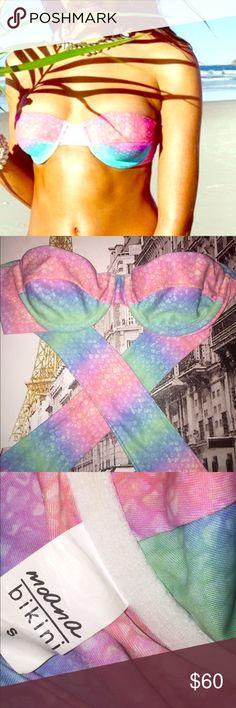 💕🐠Moana Mermaid Top, NWOT🐠💕 Moana Mermaid Top, NWOT. Super pretty, bandeau style with long sash tie back.  Transactions through Posh only. Tag: Lali Layla, Mermaid Moana Swim Bikinis