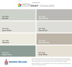 I found these colors with ColorSnap® Visualizer for iPhone by Sherwin-Williams: Sea Salt (SW 6204), Spare White (SW 6203), Alabaster (SW 7008), Jasper Stone (SW 9133), March Wind (SW 7668), Fleur de Sel (SW 7666), Amazing Gray (SW 7044), Shoji White (SW 7042).