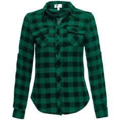 Luna Flower Women's LongSleeve Soft Cotton Button Front Plaid Flannel... (17 CAD) ❤ liked on Polyvore featuring tops, cotton flannel shirts, green flannel shirt, flower shirt, long sleeve flannel shirts and cotton plaid shirt