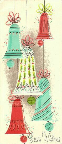 vintage Christmas card with bells