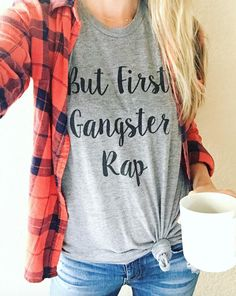 I am in LOVE! Adorable and cozy women's graphic tee. Because Gangster Rap is so my thing!! I'll be bumping some Tupac on the way to yoga after dropping the kids off at preschool for sure! My mom style just got majorly updated! But first coffee, more like but first, some Biggie Smalls!