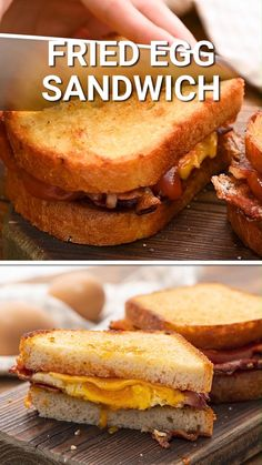 Need an easy breakfast sandwich? These Fried Egg Sandwiches are delicious and so easy to make. They also make a great breakfast for dinner recipe. Fried eggs with crispy bacon, cheese on toasted bread with ketchup. This is a comfort food sandwich that can't be missed!
