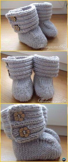 Knit Ribbing Upper Wrap Around Baby Booties Free Pattern - Knit Slippers Booties Free Patterns