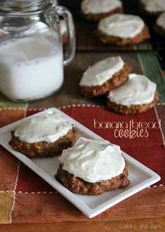 Banana Bread Cookies with Maple Cream Cheese Frosting!