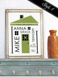 "Stylish 11x14 Customized ""Subway Art Inspired"" House Art Print   Jane"