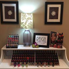 Pretty nail polish display | Home nail salon decor ideas | nail technician rooms | Nail room