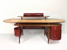 Rare Johnson Wax One Desk and Two Chair by Frank Lloyd Wright for Cassina 2