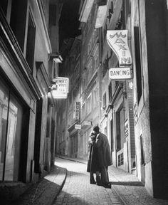 A couple embrace on a street in Zurich, Switzerland, 1948