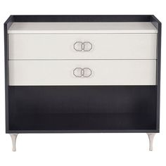 Constructed from engineered anigre veneer and stainless steel Wood Nightstand, Wood Steel, White Doors, Black Wood, Furniture Collection, Traditional Design, Modern Classic, Modern Furniture, Drawers