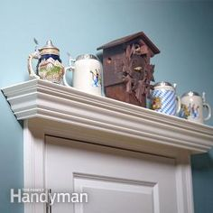 Over the Door Display Shelf Plans: Build a display shelf over the door to show off your knick knacks or to add storage space to a small room. Read more: www. - My Easy Woodworking Plans Window Ledge Decor, Window Shelves, Display Shelves, Wall Shelves, Build Shelves, Plate Display, Corner Shelves, Plant Shelves, Woodworking For Kids