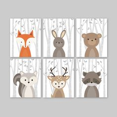 Baby Boy Wall Art for a woodland themed Nursery - Cute forest animals decor for kids bedroom or nursery. This adorable wall art of six prints features cute woodland animal illustrations: Fox Rabbit Bear Squirrel Deer Raccoon on a birch tree background. The background color used is white,