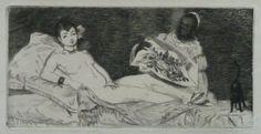Edouard Manet -  L`Olympia 1867 au forte + lavis aquatinte