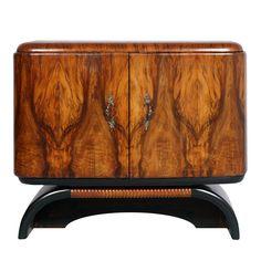 1930s Italian deco bar cabinet, console record player, in burl walnut