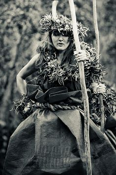 Hula kahiko (ancient form) dancer at a ceremonial offering near the rim of Kilauea Volcano on the Big Island at Hawaii Volcanoes National Park...note the dancer's pa'u (skirt) which is made from tapa, pounded bark cloth...
