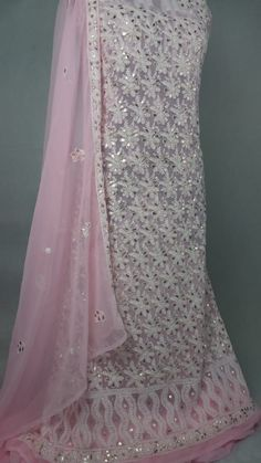 A timeless beauty in Chikankari with all intricate hand needle embroidery and aari work Neck Designs For Suits, Timeless Beauty, Indian Dresses, Designer Wear, Kurti, Saree, Embroidery, Chicken, Clothes For Women