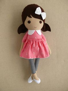 Reserved for Joanne Fabric Doll Rag Doll Brown by rovingovine